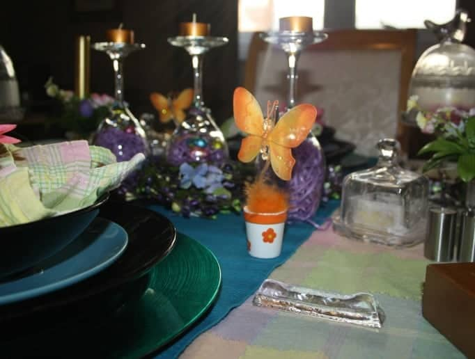 Easter Table Setting, pastel tablecloth, butterflies and birds