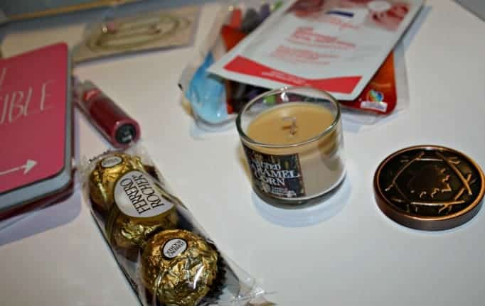 Journal swap, candle and chocolate