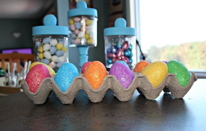Easter Apothecary Jars and glitter eggs