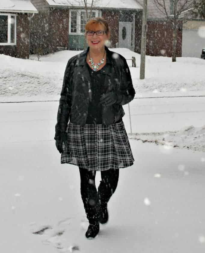 gingham dress, moto jacket, stud boots, cashmere sweater