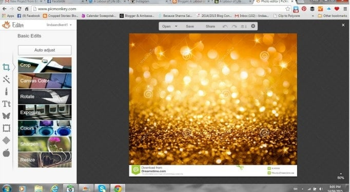 using picmonkey to create gold glitter letters