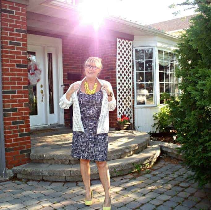 Old Navy Linen Blazer,Joe fresh Sundress and yellow signature pumps