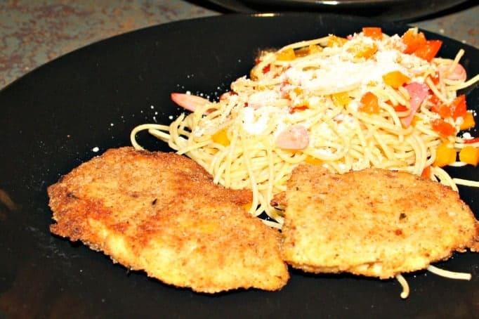 Chicken Cutlets and red Pepper Garlic Pasta