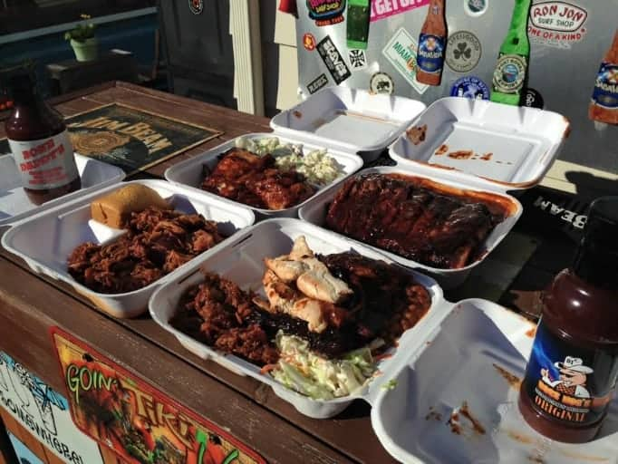 Feast of ribs, pork and chicken