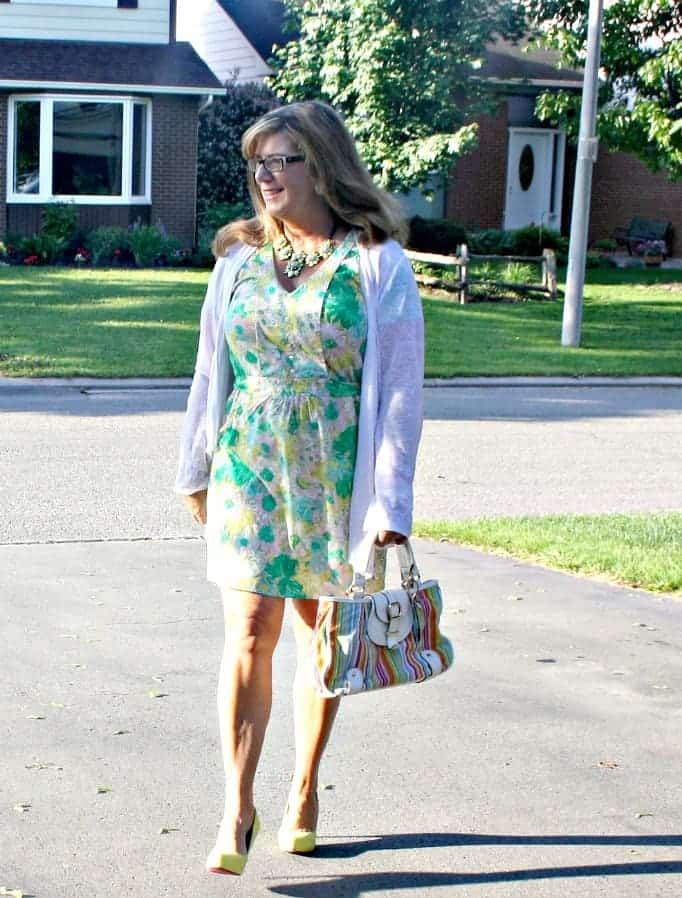 forever 21 Floral Dress and Cardigan, Shoe Dazzle Yellow signature pumps