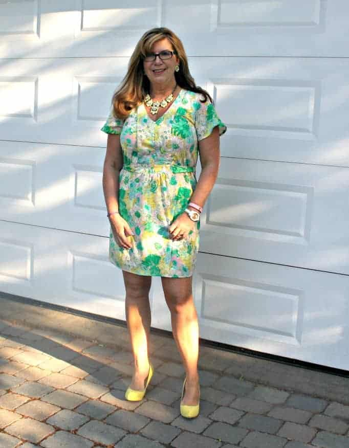 forever 21 Floral Dress, Shoe Dazzle Yellow signature pumps and Yosa necklace