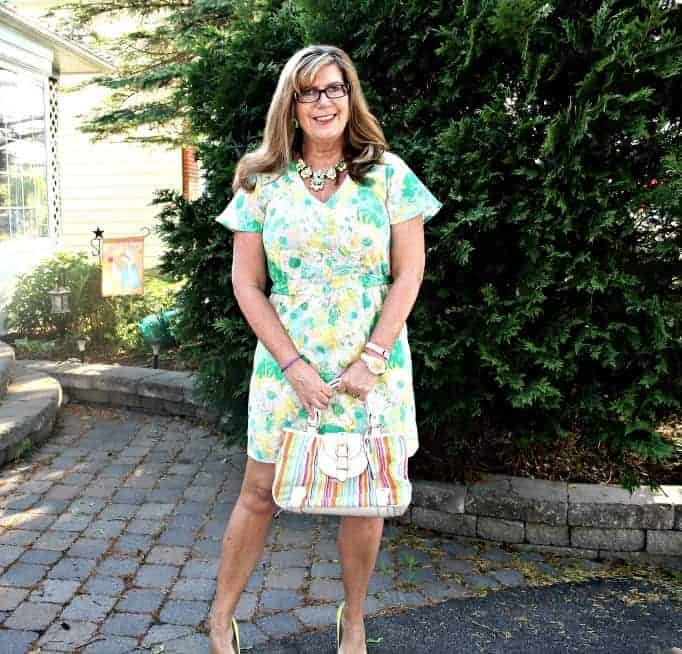 forever 21 Floral Dress and Isaac Mizhari Purse, Shoe Dazzle Yellow signature pumps