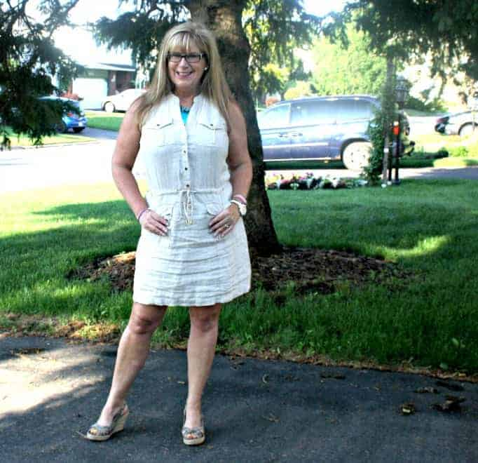 Michael Kors Linen Dress, Giant Tiger wedges and Kate Spade Watch