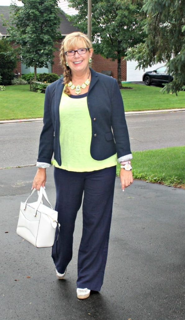 Old navy linen pants,neon cami by gap, Blazer and Kate spade bag