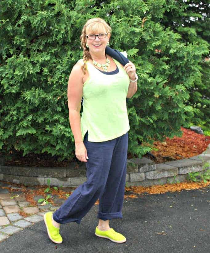 Old navy linen pants,neon cami by gap,and yosa necklace,