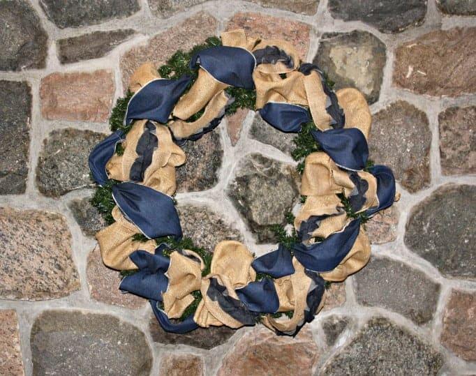 denim and burlap wreath