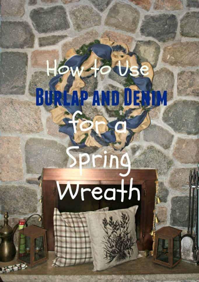 Making a denim and burlap wreath