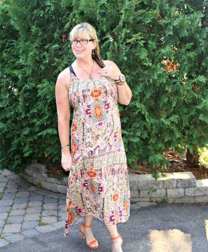 Target Tribal Dress and Shoe Dazzle Orange strap sandals, Jord watch