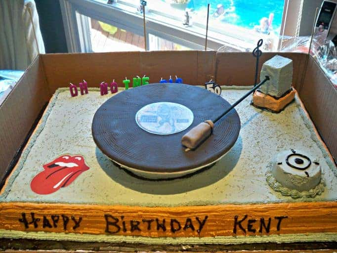 record player cake and stones album