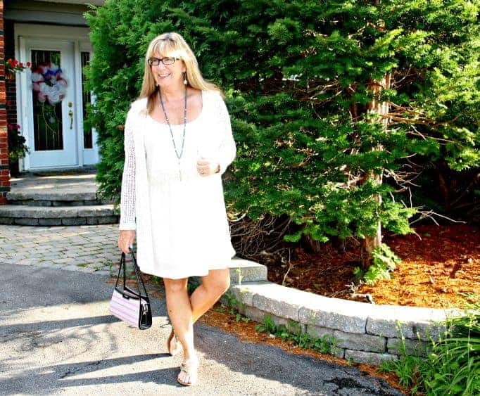 forever 21 babydoll dress and crochet cardi and Kate spade purse