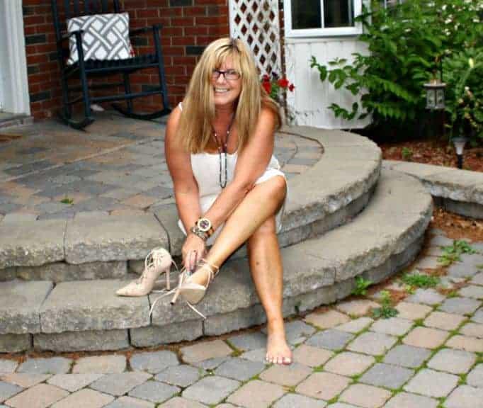shein heels with a chiffon dress