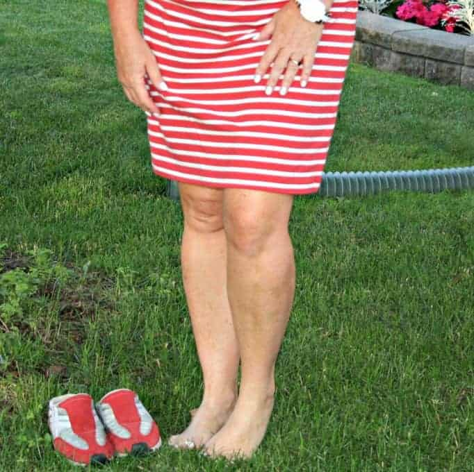 old navy  red stripe dress red sneakers