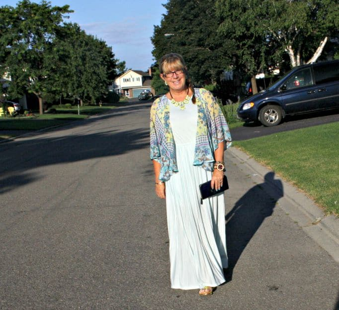 chiffon maxi and floral kimono from Target with yosa necklace and jord watch