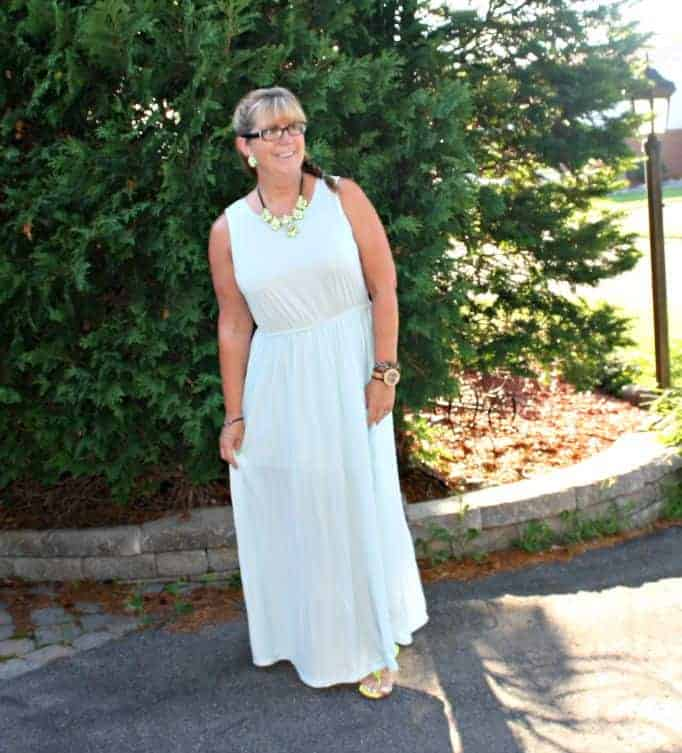 chiffon maxi  from Target with yosa necklace and jord watch