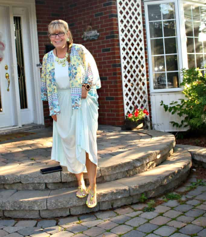chiffon maxi and floral kimono from Target and jord watch