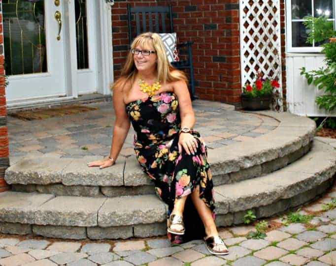 gold target sandals and a floral maxi