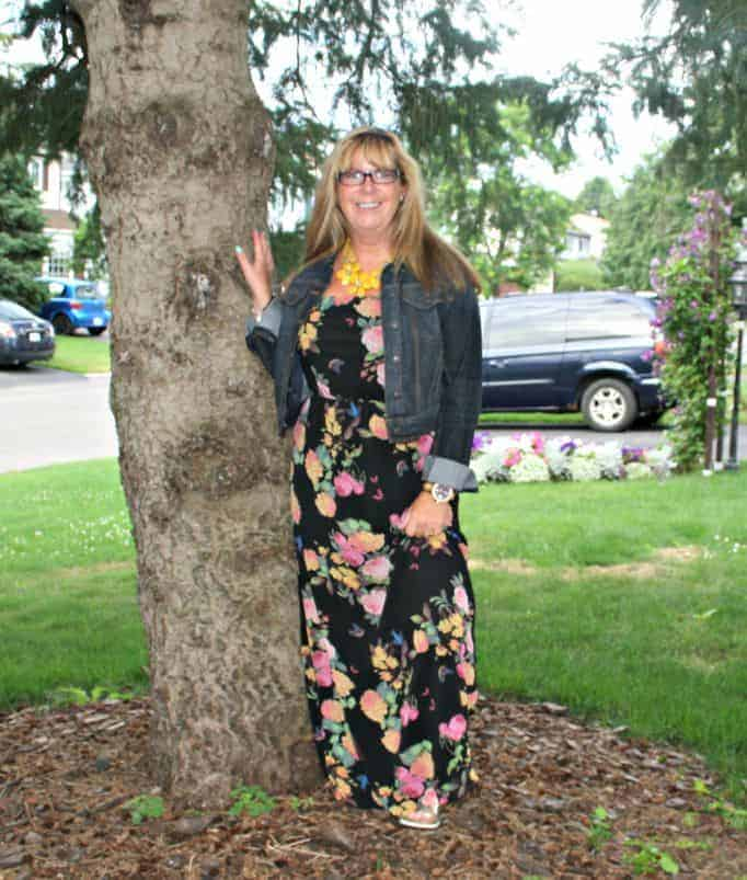 Forever 21 Floral Chiffon Maxi and Target Denim Jacket