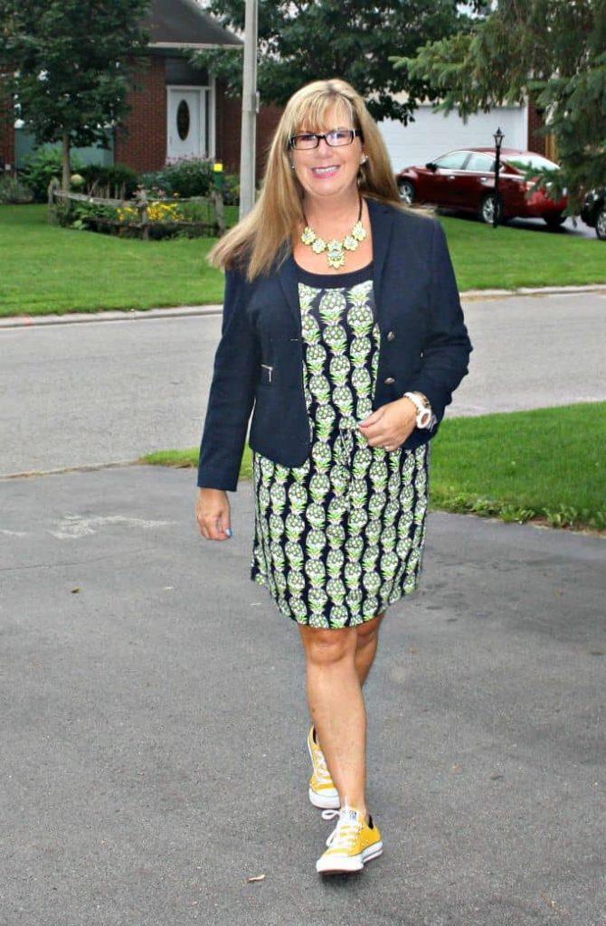 Banana republic pineapple dress and navy blazer with Yosa necklace