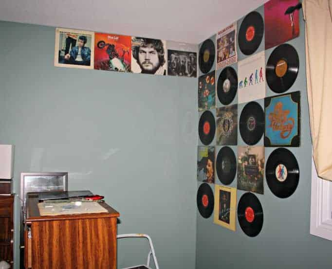 albums on the wall