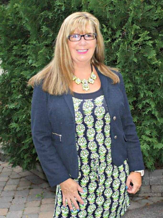 pineapple dress and navy blazer with Yosa necklace