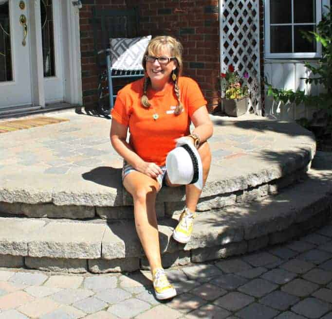 Orange shirt for NDP and J Crew shorts with converse