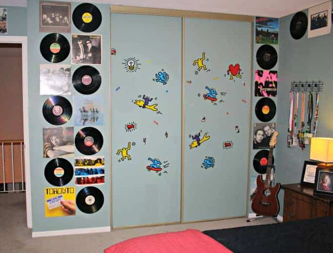Vinyl and album covers on the wall
