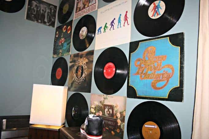 wall decorated with albums