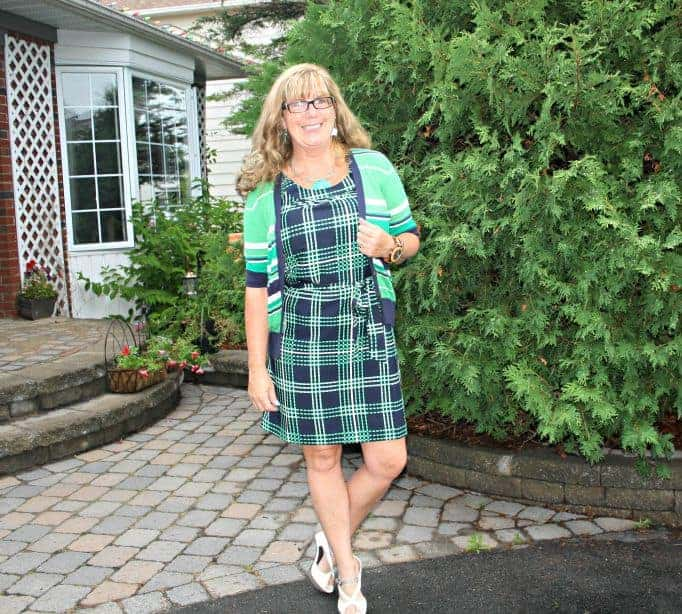 Green and Nay dress and striped sweater