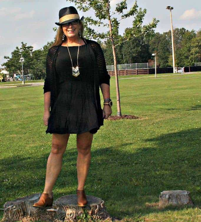 Forever 21 crochet sweater and chiffon dress, with fedora and booties