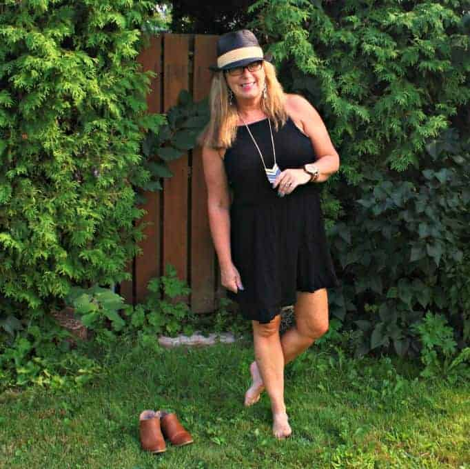 black chiffon dress, with fedora and jord watch