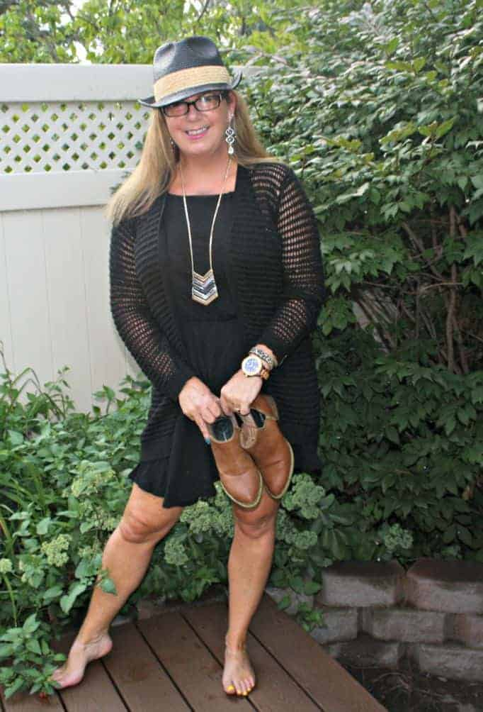 Jord watch and Forever 21 crochet sweater and chiffon dress, with fedora and booties