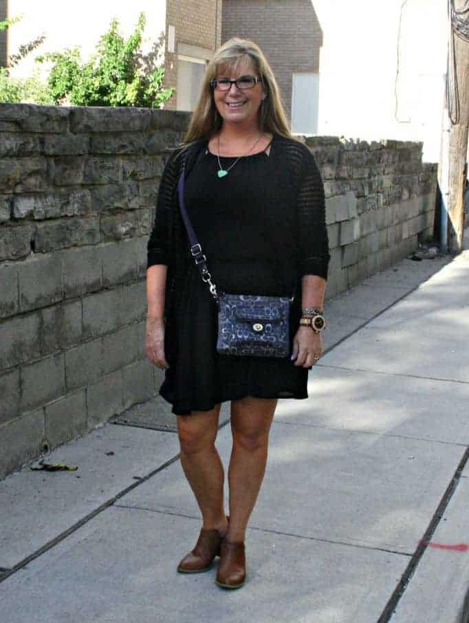 Forever 21 Black Dress and crochet cardigan