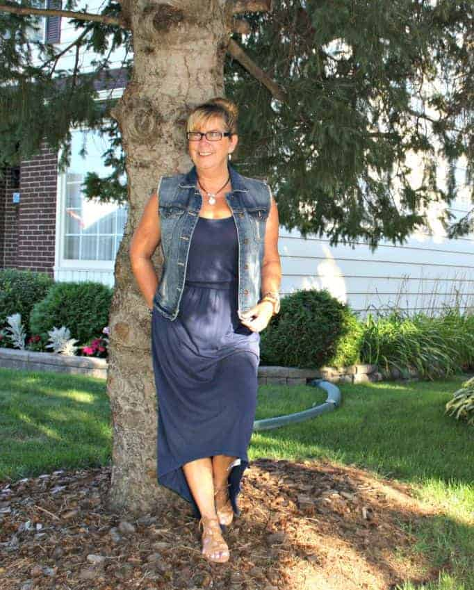 a summer classic, vest and a maxi with gladiator sandals