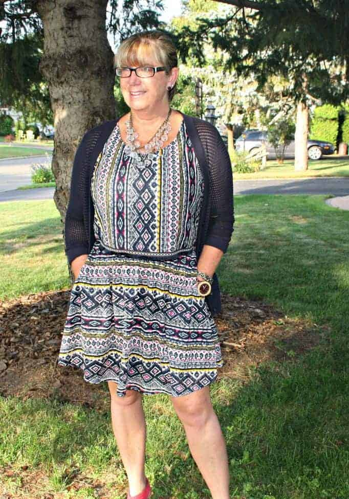 tribal skirt and top from target with cardigan