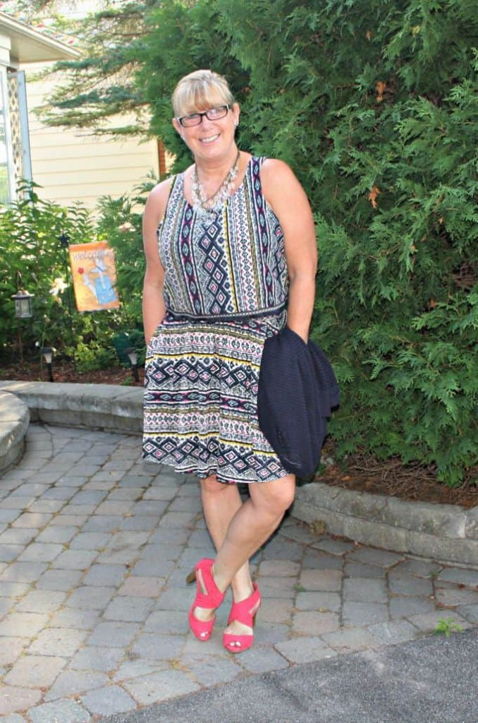tribal skirt and top from target with Kmart pink strap shoes