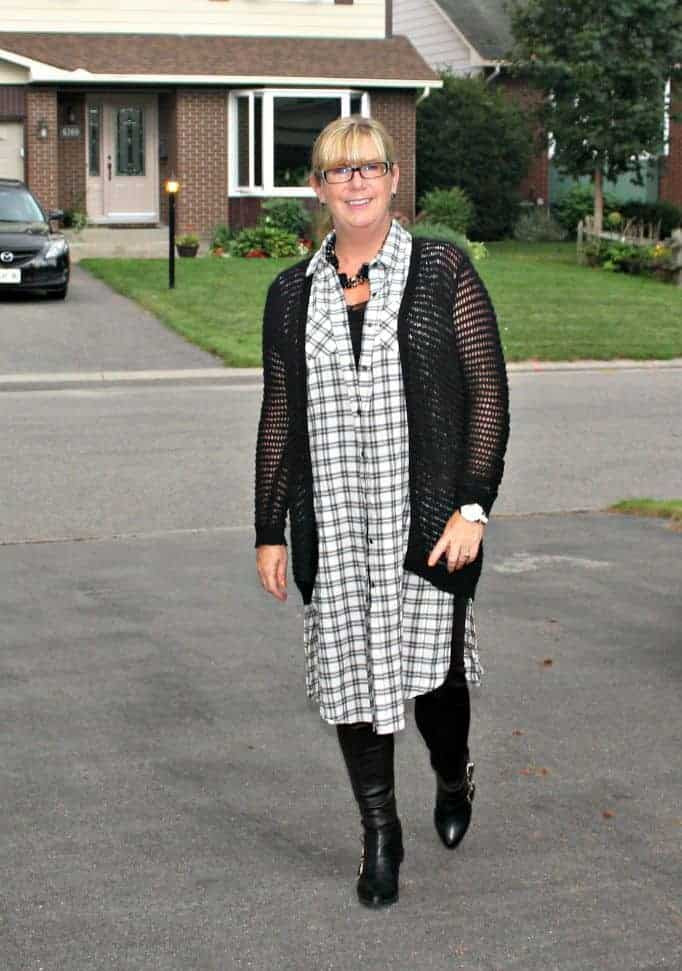 black open weave sweater forever 21 and checked duster