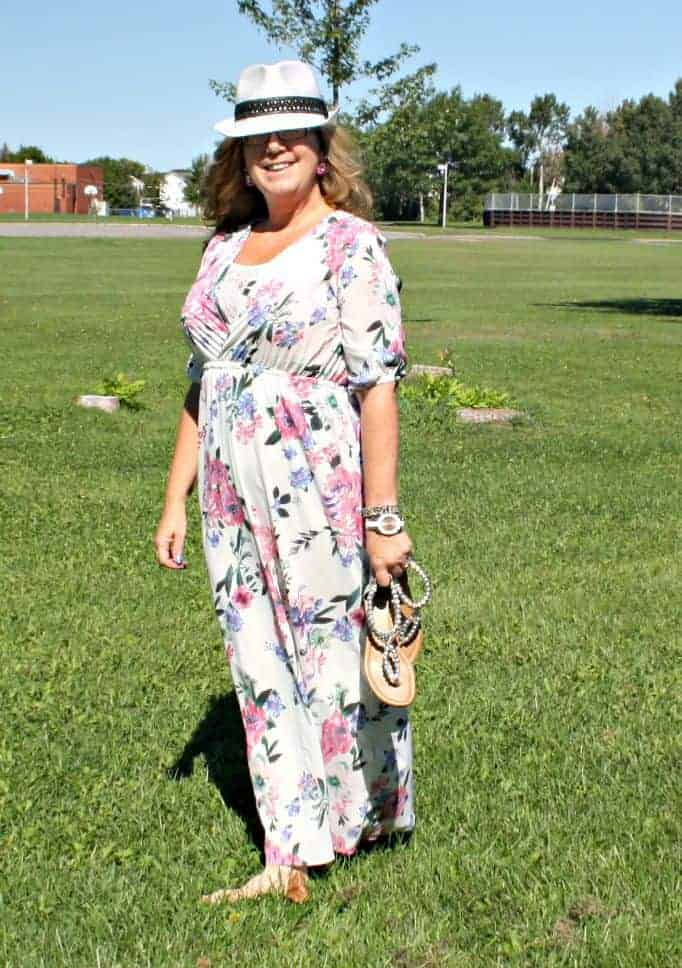 white kate spade watch and floral maxi