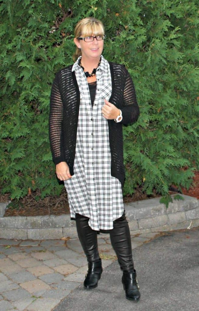 black checks, leather leggings and buckle boots