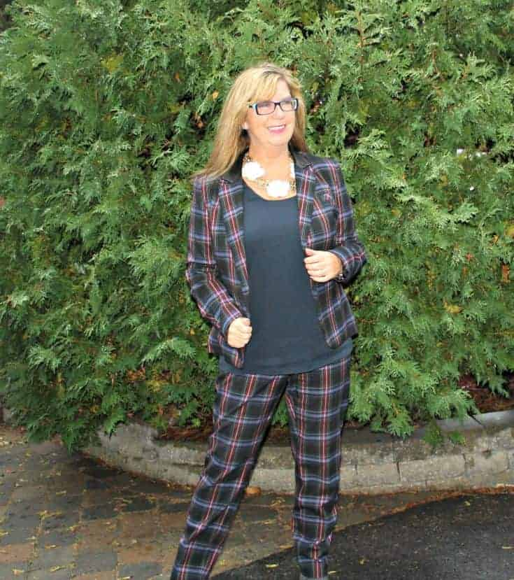 Plaid suit and navy cami
