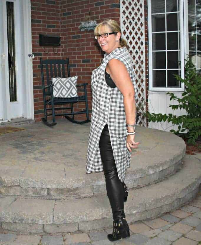 black and white checked duster and black booties