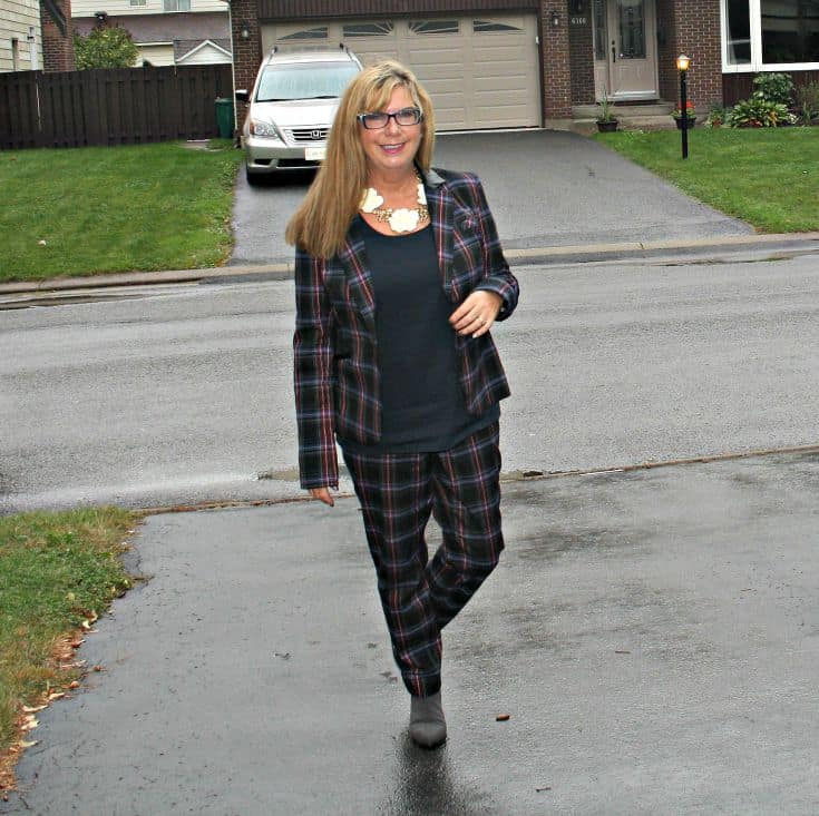 Target plaid suit and rose necklace