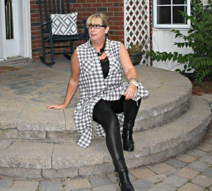 black and white checked duster with leather and booties