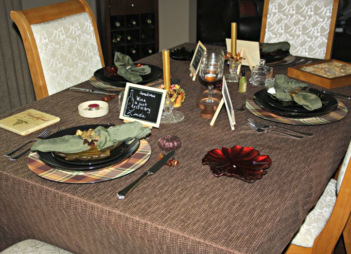 My wine and fall table setting