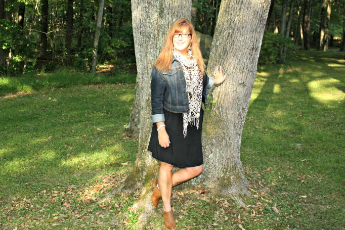 lbd and booties with denim and leopard