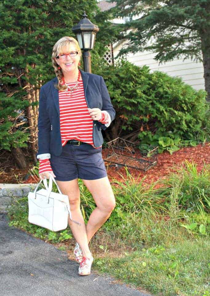 Old Navy Striped shirt and anchor necklace